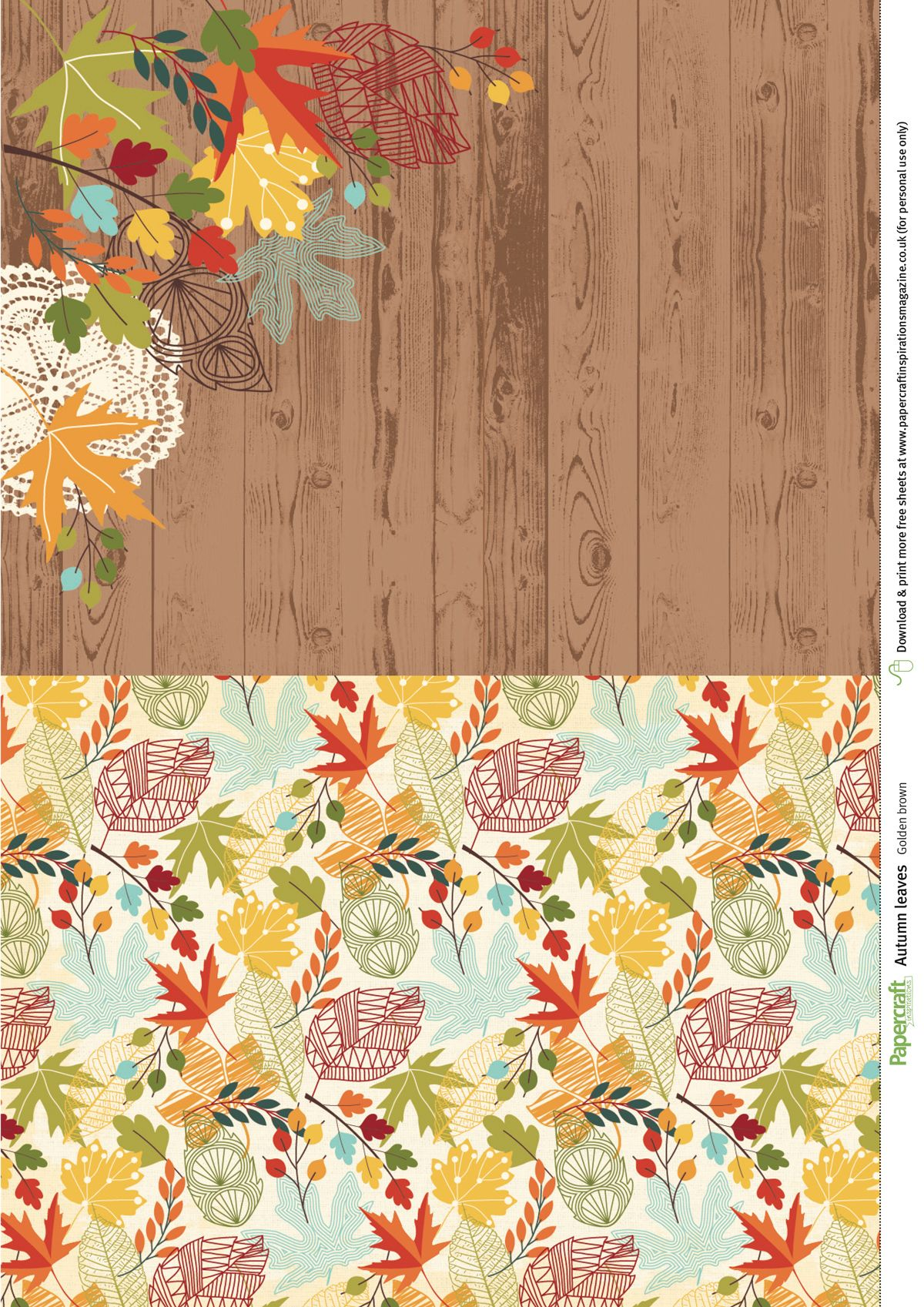 Free Autumnal Leaves Patterned Papers Free Paper Printables Digital Paper Free Free Scrapbook Paper