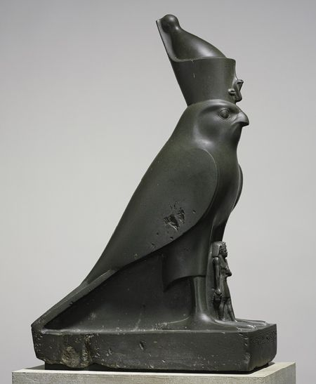 Statue of the falcon god Horus with Nectanebo II, Late Period, Dynasty 30, reign of Nectanebo II, ca. 360–343 b.c.