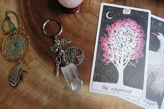 Mother Earth Terra Great Mother Mother Nature Gaia Goddess Raw Quartz Crystal Key Chain