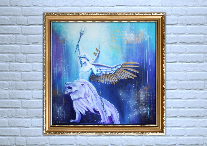 original engel gemalde auf leinwand 80x80 cm modernes wandbild mit lowe angel wall art painting fotodruck oder poster