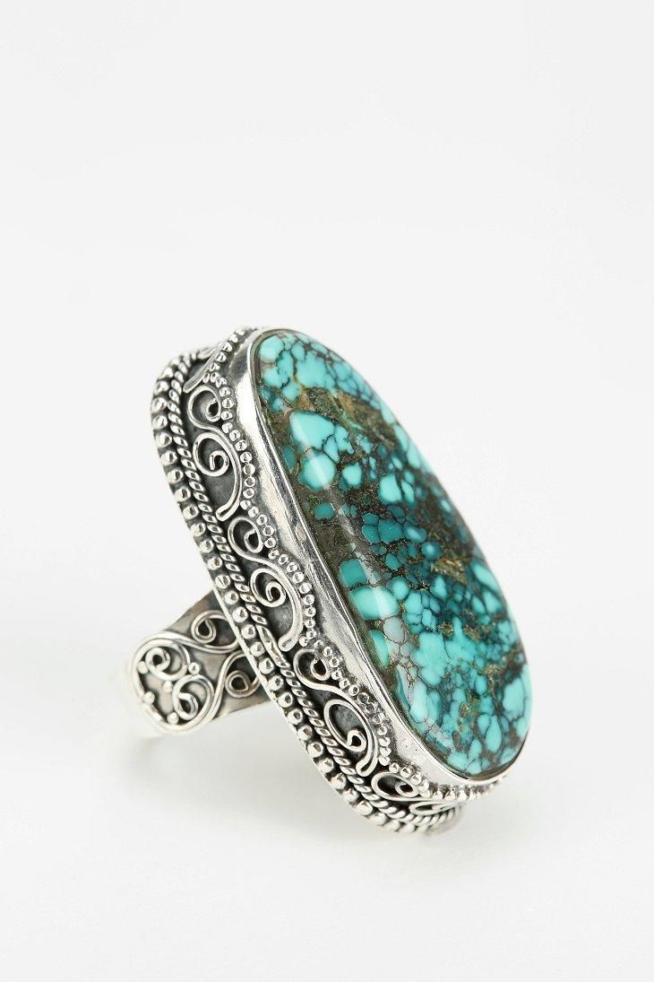 Adorn By Sarah Lewis Large Turquoise Filigree Ring