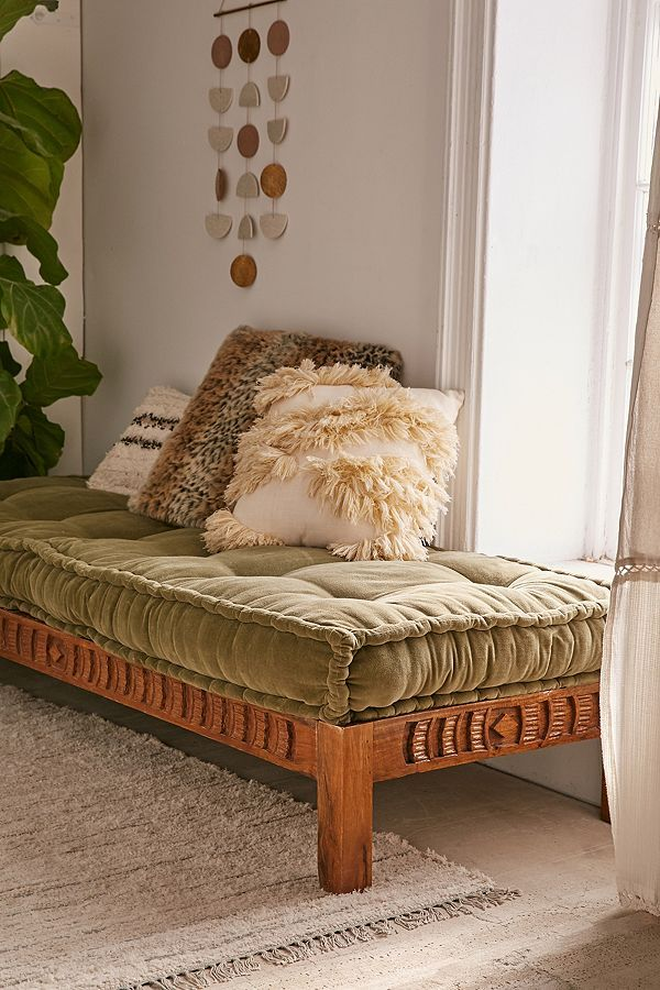 Rohini Velvet Daybed Cushion Daybed Cushion Floor Pillows Wood Daybed