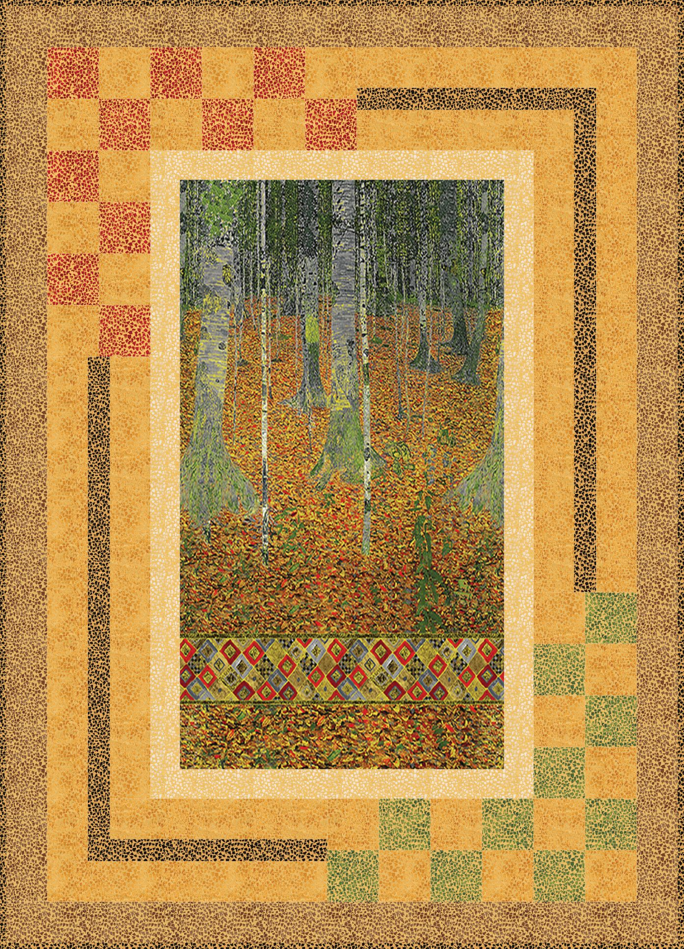 Free Pattern Fenestration Designed By Ariga Mahmoudlou For Robert Kaufman Features Gustav Klimt By Studio Rk Shipp Panel Quilts Panel Quilt Patterns Quilts