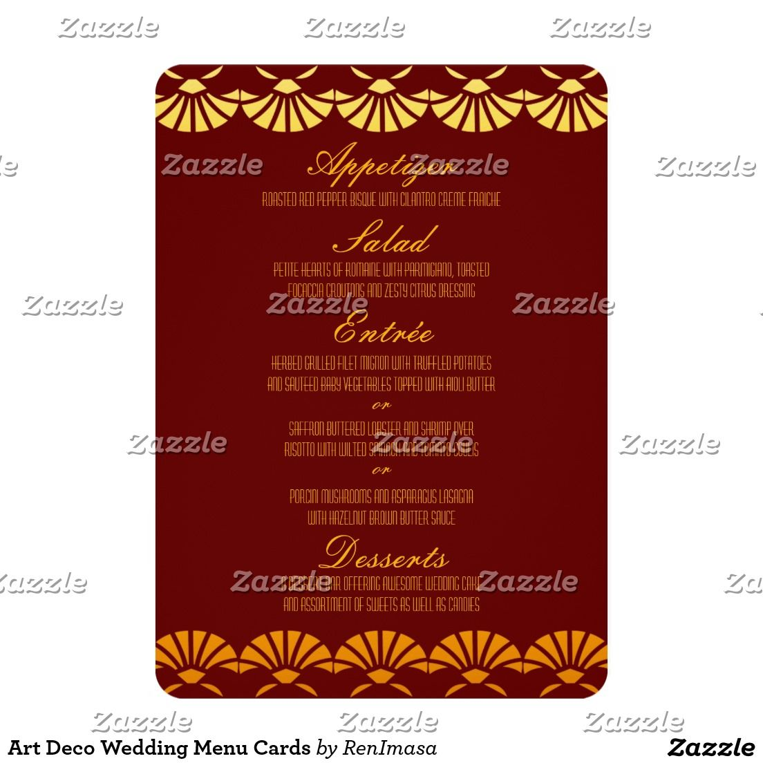 Art Deco Wedding Menu Cards 13 Cm X 18 Cm Invitation Card | Trevor ...