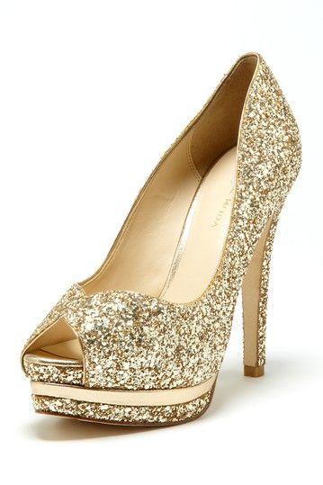 Gold Glitter Heels / Pelle Moda