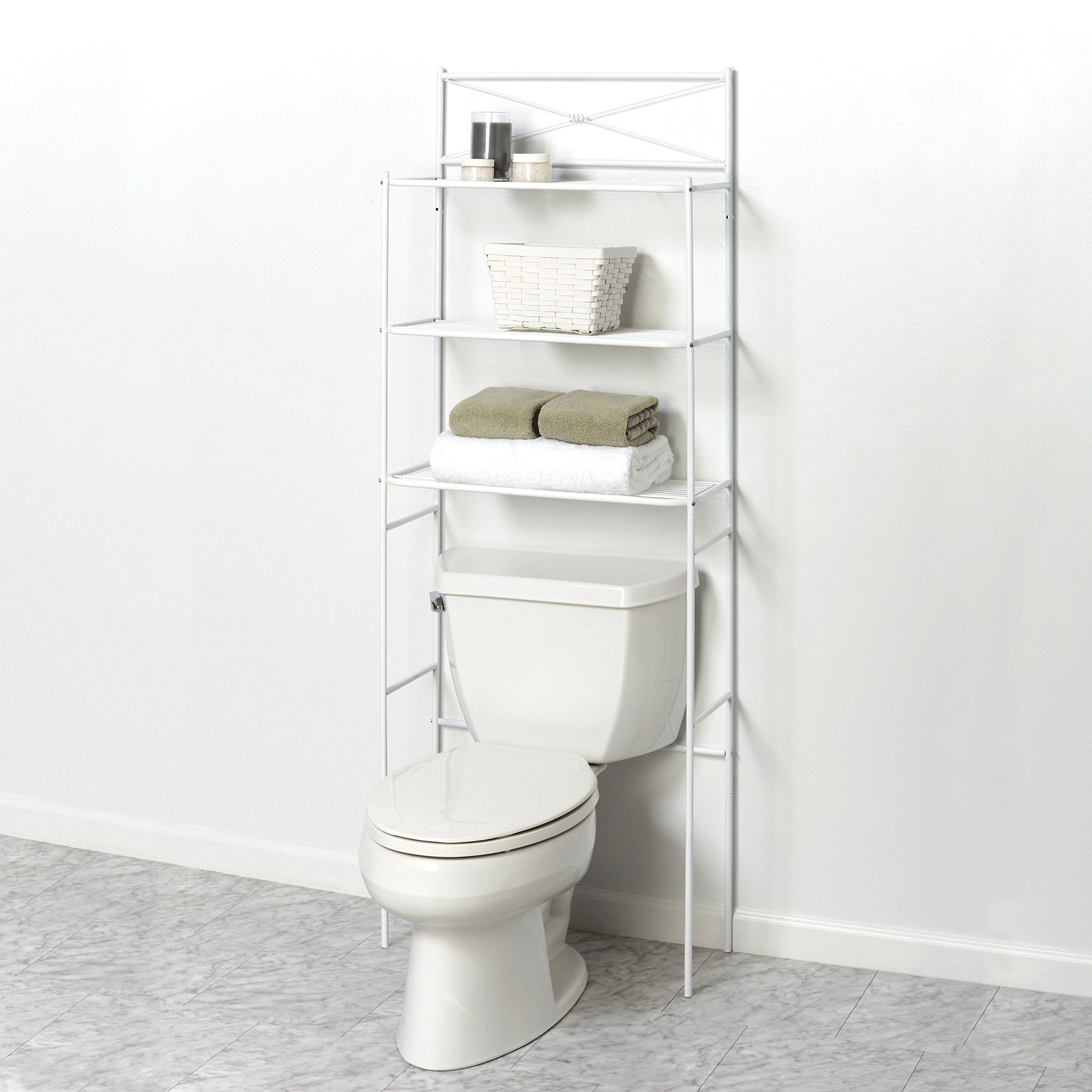 Over The Toilet Bathroom Spacesaver Shelves Storage Towel Shelf Organizer  White