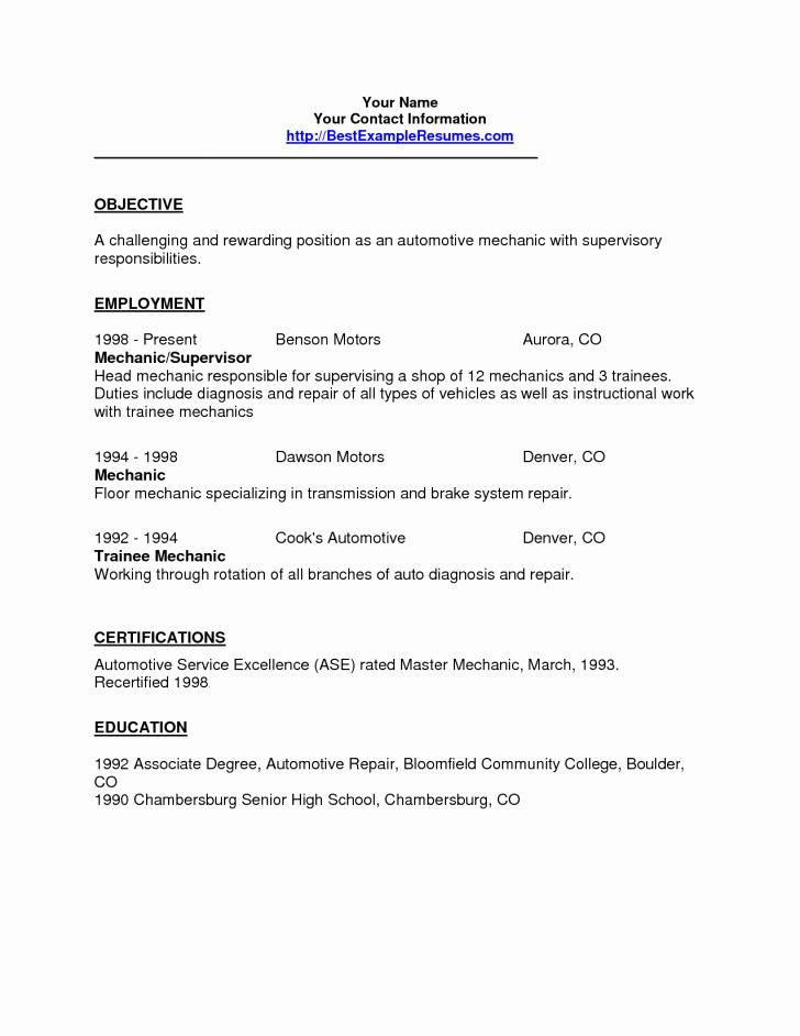 New resume and template automotive technician resume