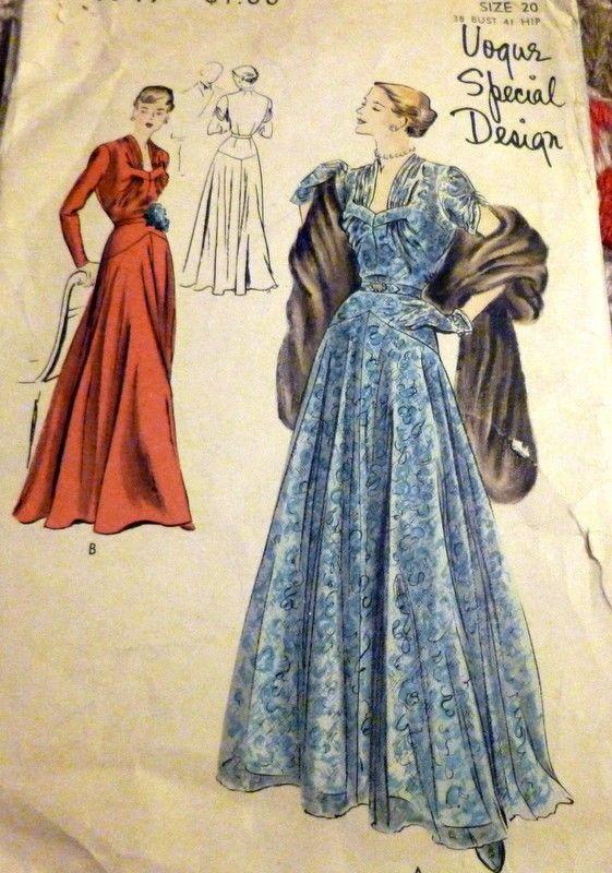 1950s Evening Dress Vogue Sewing Pattern Vintage Patterns