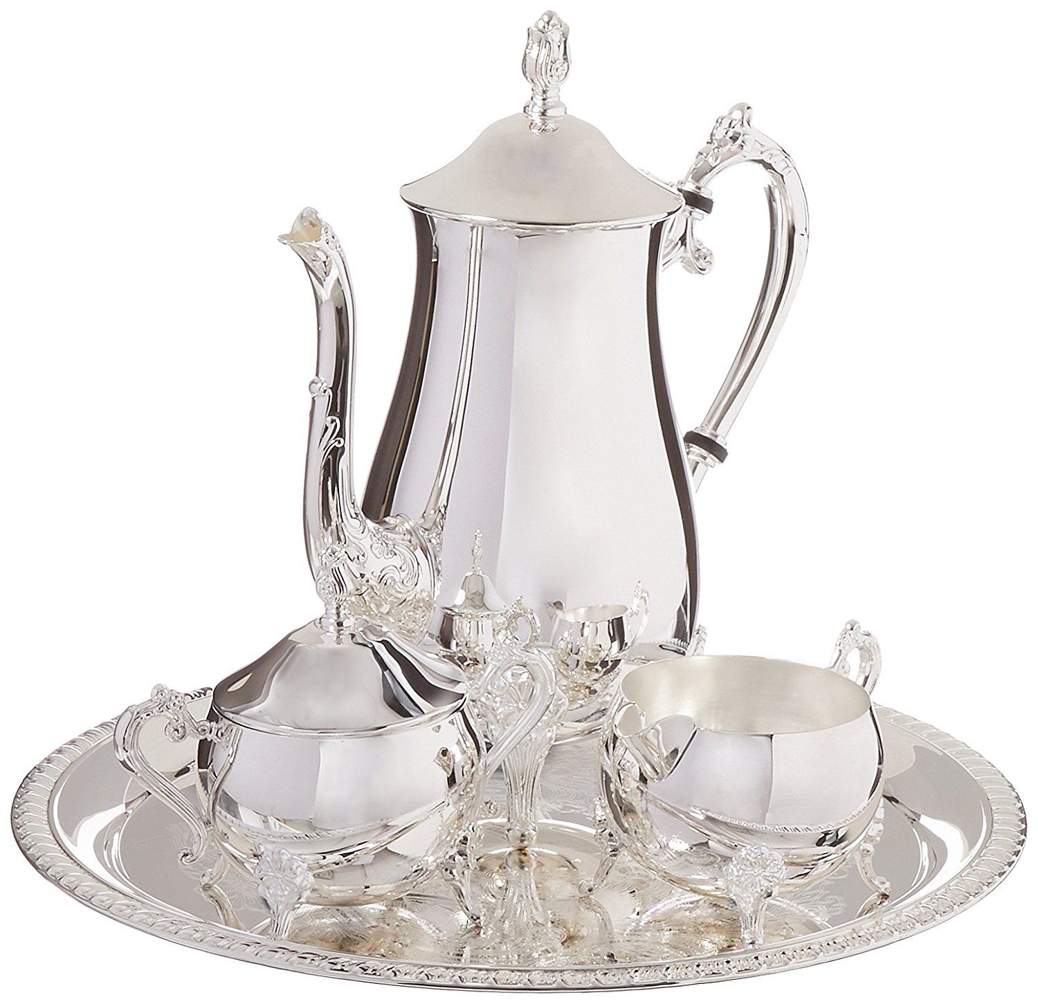 4 Piece Elegance Silver 8917 Hotel Collection Coffee Service Set