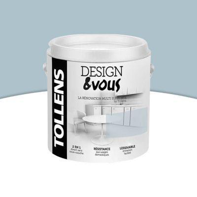 Peinture De Rénovation Multi Supports TOLLENS Designu0026vous Bleu De Gris Satin  0,5L |