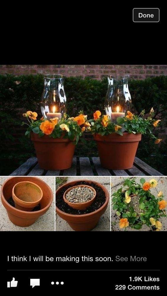 Create new outdoor lighting fixtures with old terracotta pots lying around, no DIY skills necessary.