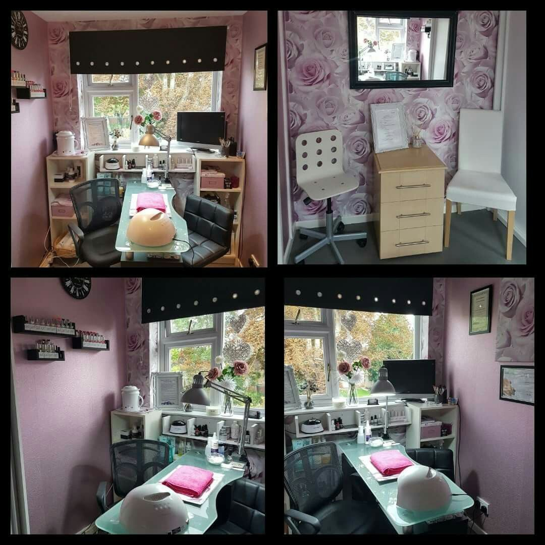 Small And Frugal Home Nail Salon Set Up Idea For Small Spaces Nail Technician Rooms Nail Salon Ideas Salon Home Nail Salon Nail Salon Decor Nail Salon