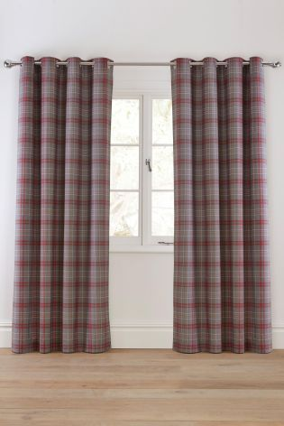 Buy Red And Grey Check Lined Eyelet Curtains From The Next Uk Online Shop Grey Curtains Living Room Curtains Living Room Grey Home Decor