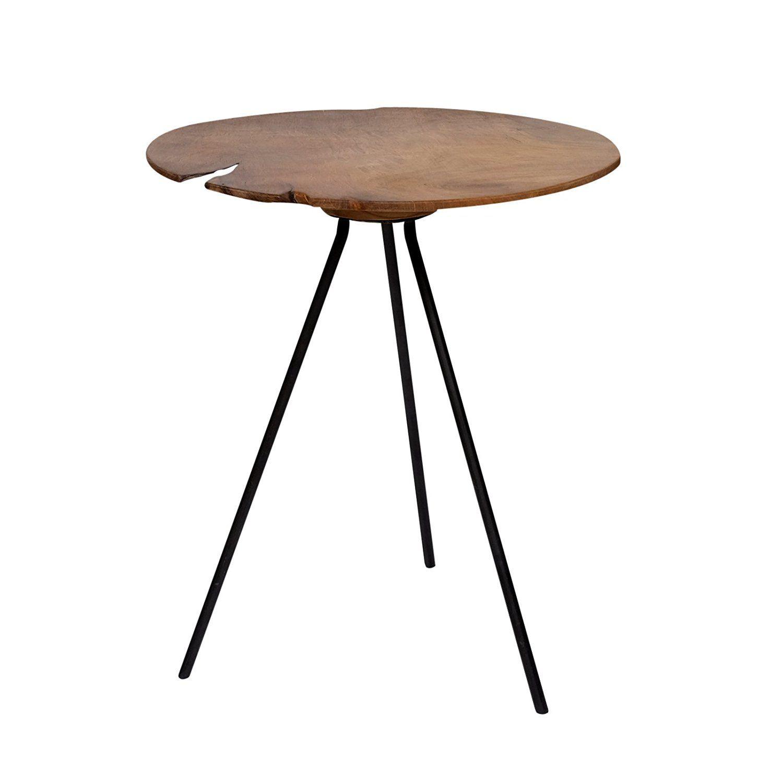 Design Beistelltisch Couchtisch Tisch Teakholz Eisen Holz Teak