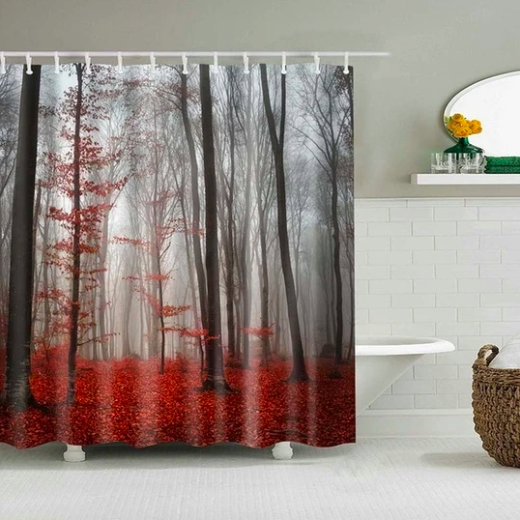 Red Forest Trees Fabric Shower Curtain In 2020 Fabric Shower