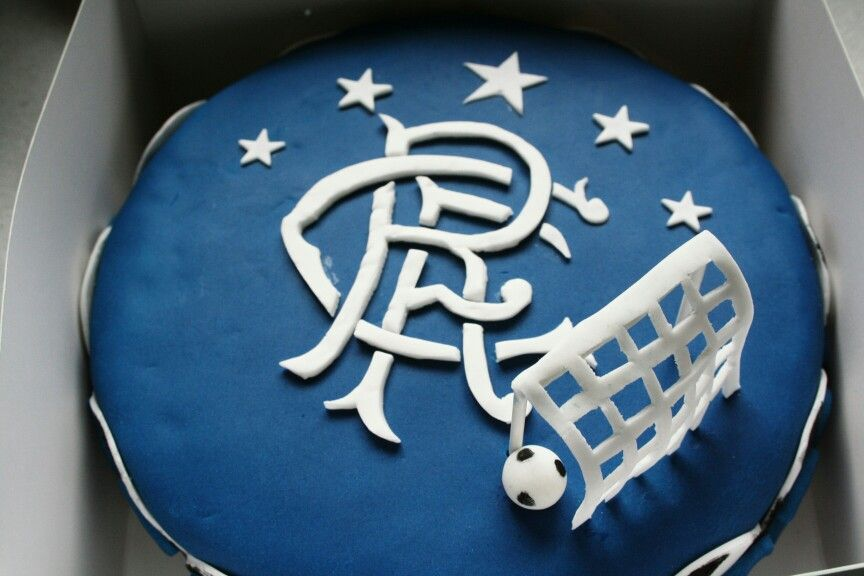 Glasgow Rangers FC birthday cake Toffee cake with vanilla