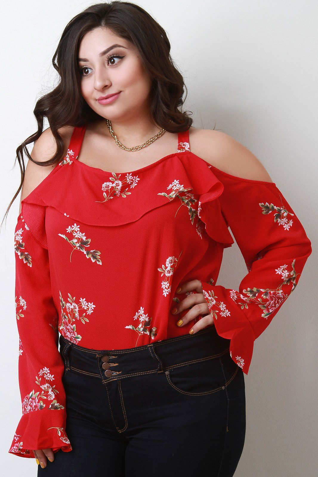 13fc997e5ffe7 Trumpet Sleeves Ruffle Cold Shoulder Top