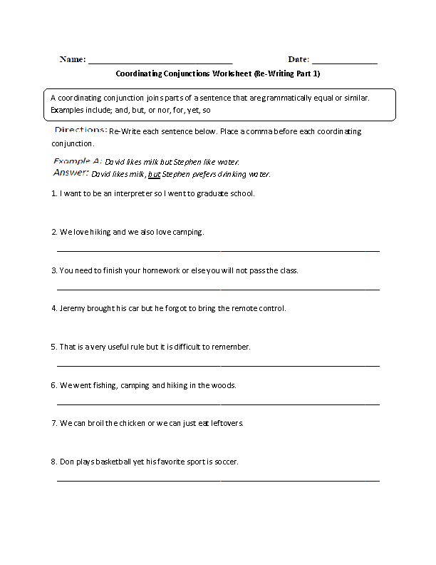 Coordinating Conjunctions ReWritingPart 1 Advanced – Conjunctions Worksheet 5th Grade