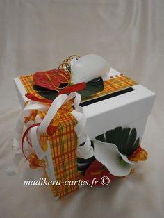 Urne madras & fleurs tropicales / Tropical wedding card box