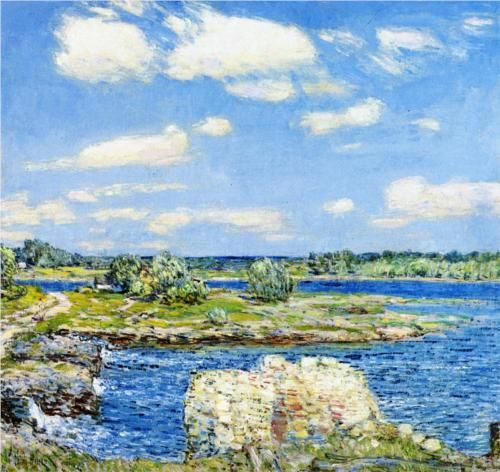 """""""Mill Site and Old Todal Dam, Cos Cob,"""" Frederick Childe Hassam, 1902, oil on canvas, 24 x 26"""", private collection."""