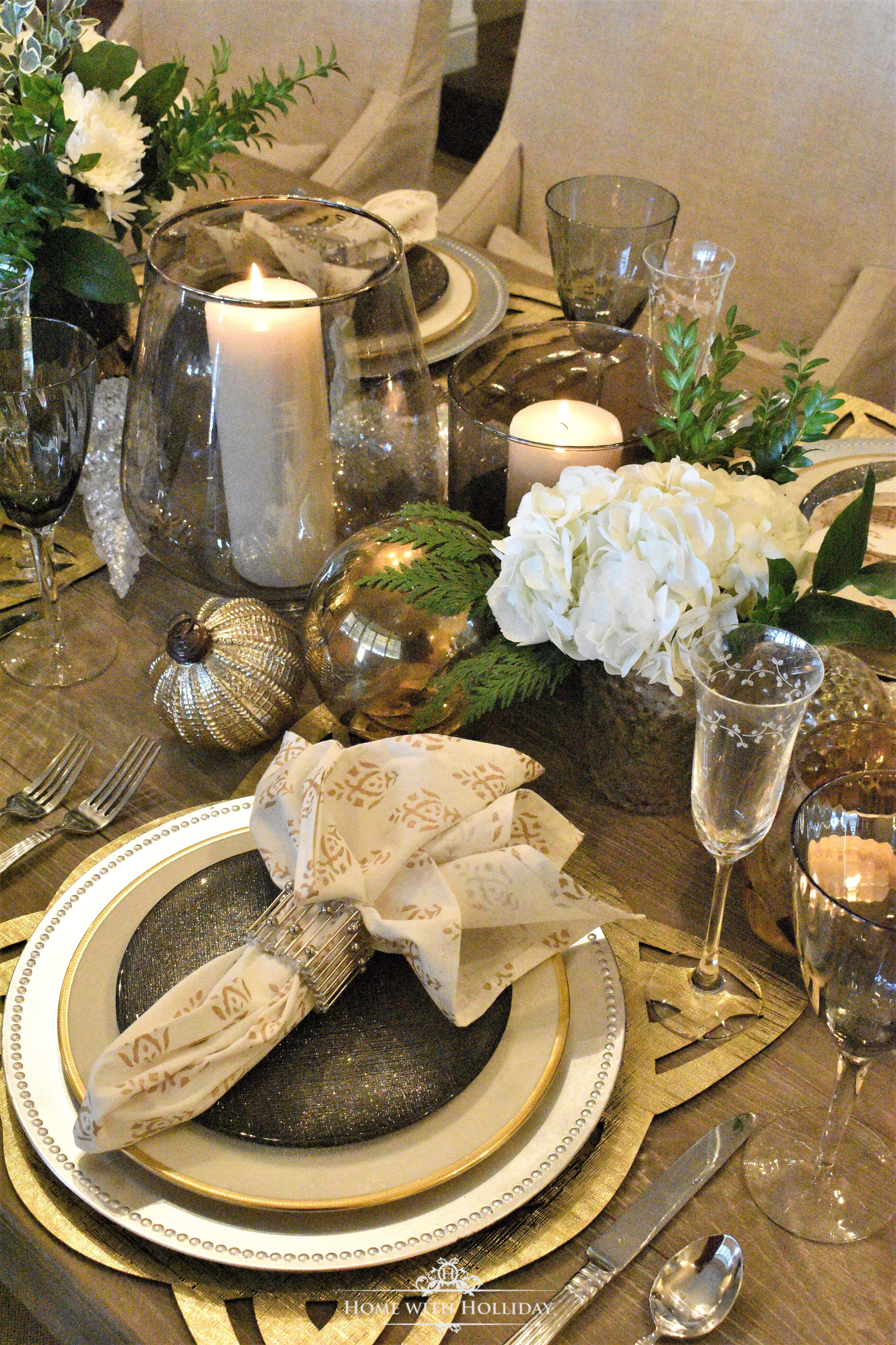 Gold And Silver Table Setting New Year S Eve Or Christmas