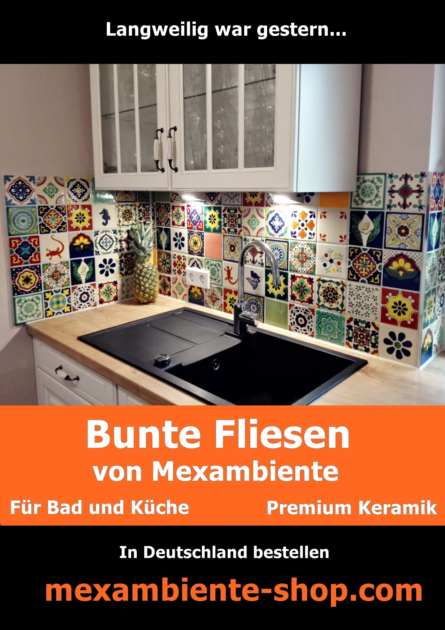 bunte fliesen f r die k che warme farben und motive aus der natur gegriffen handbemalte. Black Bedroom Furniture Sets. Home Design Ideas