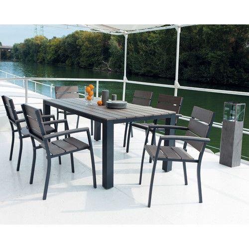 Table de jardin en composite imitation bois et aluminium grisée L ...