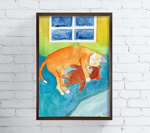Watercolor Cat Cat Painting Cat Art Print Cat by MiaoMiaoDesign