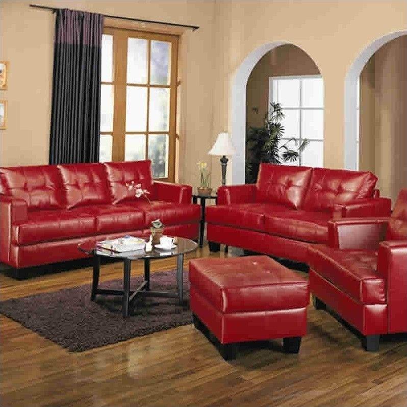 Coaster Samuel Modern Tufted Leather Loveseat In Red 501832 Red Sofa Living Red Sofa Living Room Living Room Leather