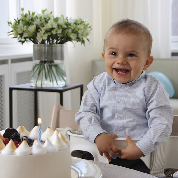 Kungahuset on Instagram: The Swedish Royal Court released a photo of Prince Oscar with his birthday cake to mark his first birthday, Haga Palace, March 2, 2017 (b. March 2, 2016)