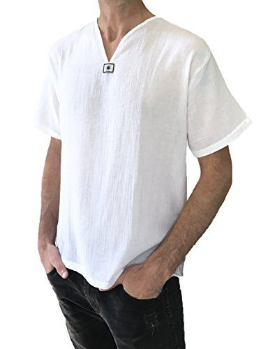Men/'s Shirt 100/% Cotton White Hippie Long sleeve shirt Yoga Casual Size L