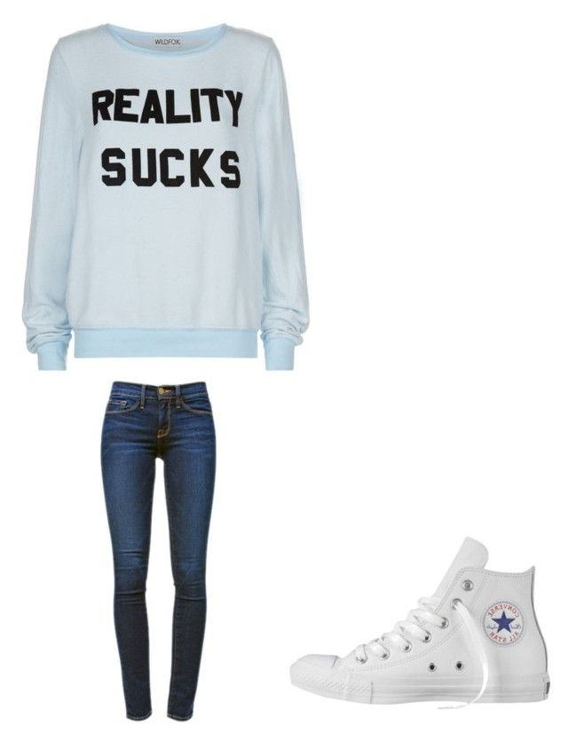 """"""""""" by melodyleighmitchell on Polyvore featuring Wildfox, Frame Denim and Converse"""