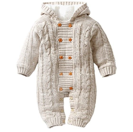 Photo of Baby Boy's Knitted Warm Cotton Rompers