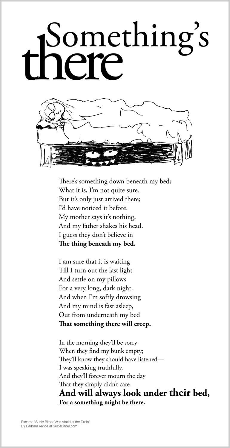 funny childrens poem about being afraid of a monster under the bed and afraid of the dark great for classroom activities and for learning poetry