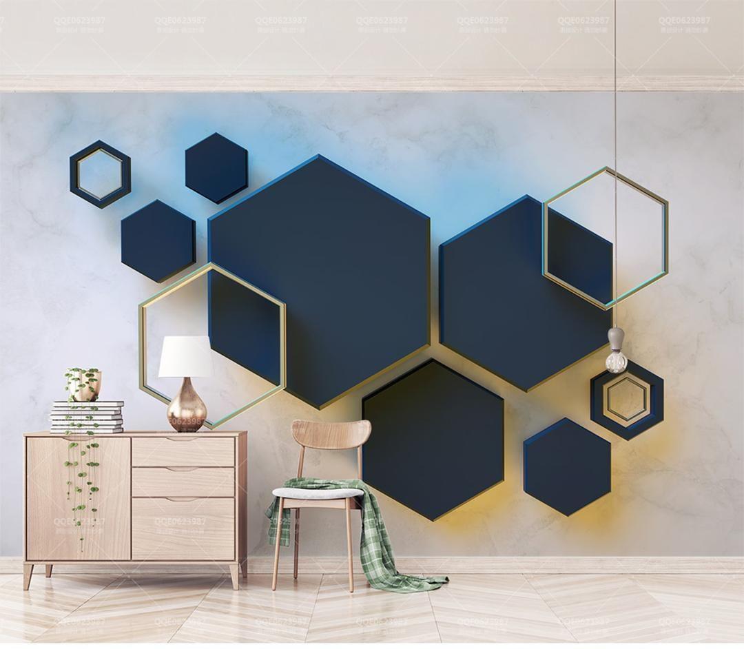 Best Photo Wallpaper 3D Geometric Hexagonal Mosaic Stitching 400 x 300