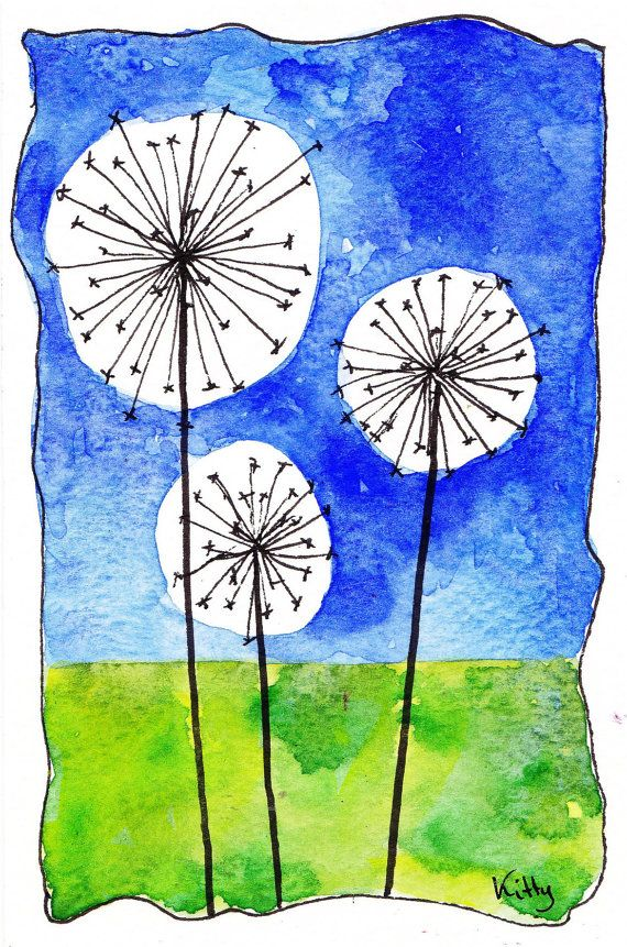 Dandelions an original watercolor 4 x 6 by Kitty69 on Etsy