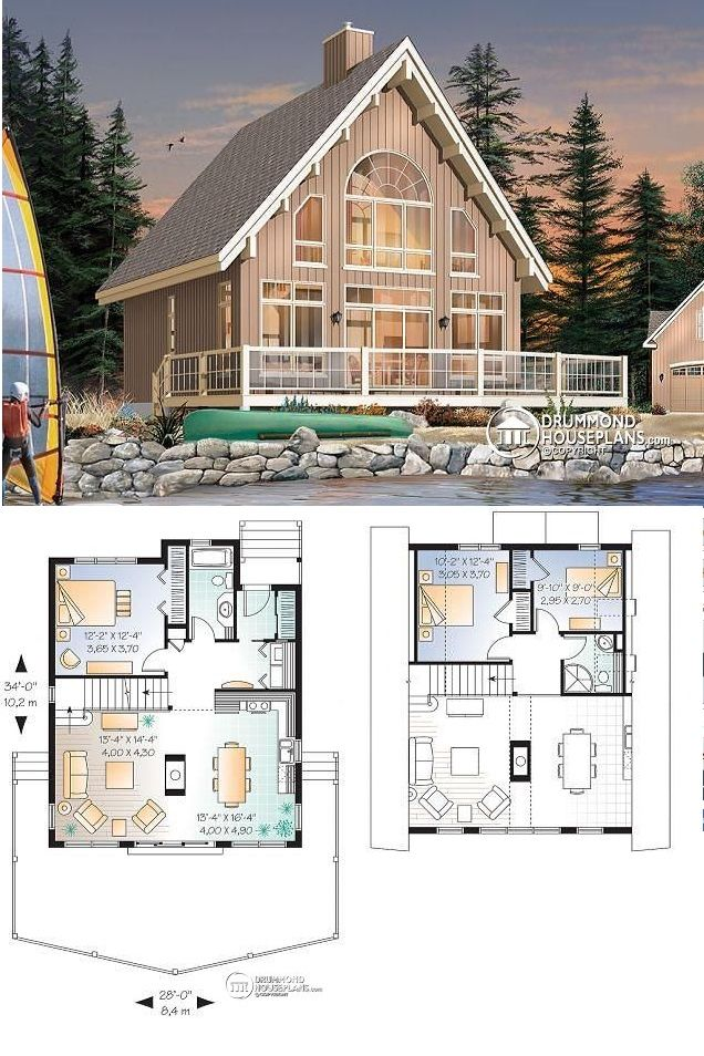 Discover The Plan 3938 The Skylark Which Will Please You For Its 1 2 3 Bedrooms And For Its Cottage Chalet Cabin Styles Drummond House Plans Craftsman House Plans Lake House Plans