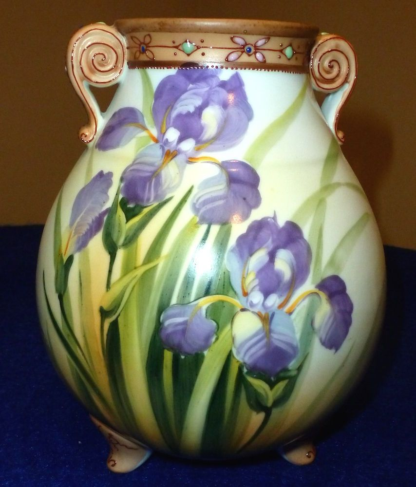 Vintage nippon hp vase with iris and moriage decoration 8 high vintage nippon hp vase with iris and moriage decoration reviewsmspy