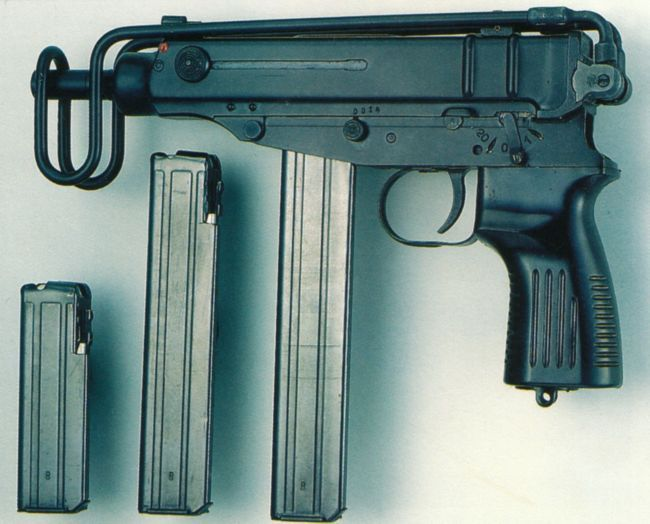 Scorpion SA Vz 82 submachine gun, chambered for 9x18 PM ammunition