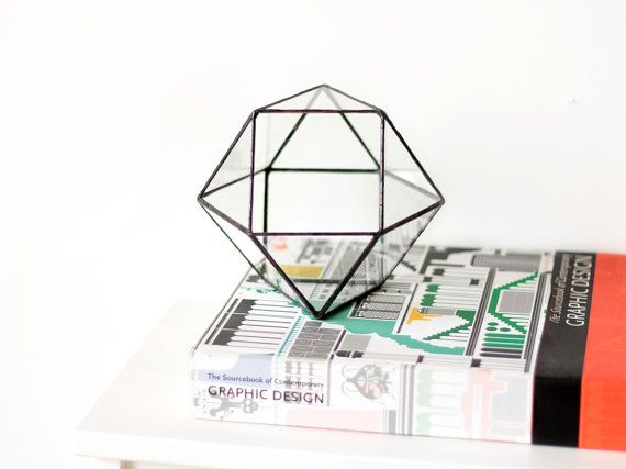 Little Geometric Glass Terrarium / Cuboctahedron / by Waen on Etsy