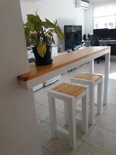 Desayunador Barra Mas Dos Taburetes En Hierro Y Madera 11 500 00 Diseño Muebles De Cocina Muebles De Cocina Rusticos Barra De Cocina