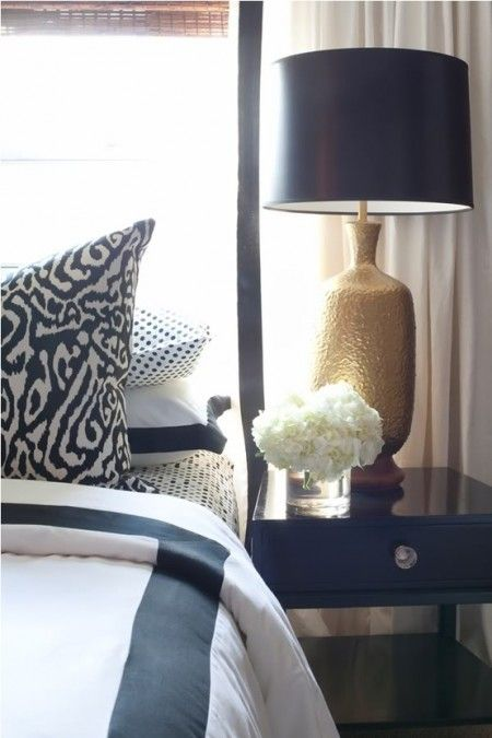 Dayka robinson designs white curtains with black ribbon trim layered over bamboo roman shades gold leaf lamps also boxwoodclippings bedroom and pinterest