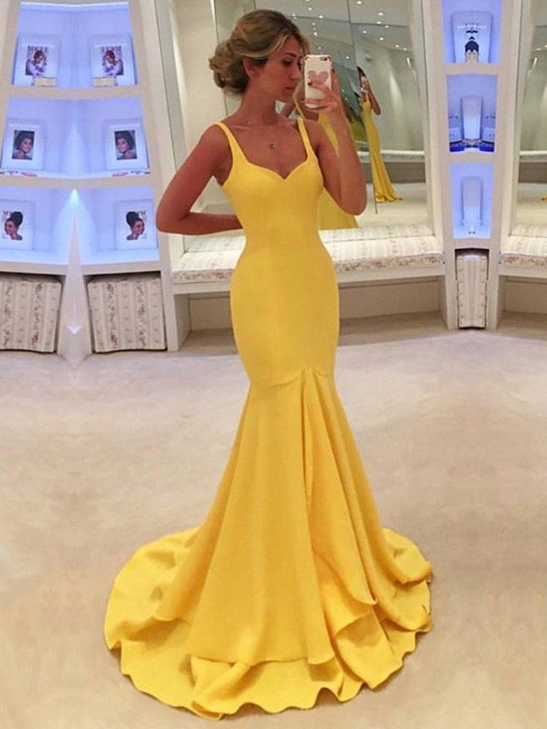 A line yellow mermaid prom dresses with sweep train yellow formal