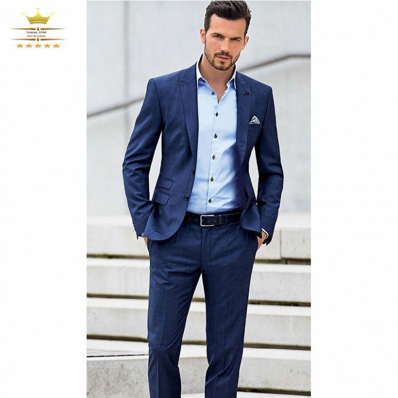Wedding Guest Suit Navy Blue Navy Blue Custom Homme Wedding Suits For Men With Pants Grooms Slim Men Mens Casual Suits Wedding Guest Suits Mens Fashion Suits