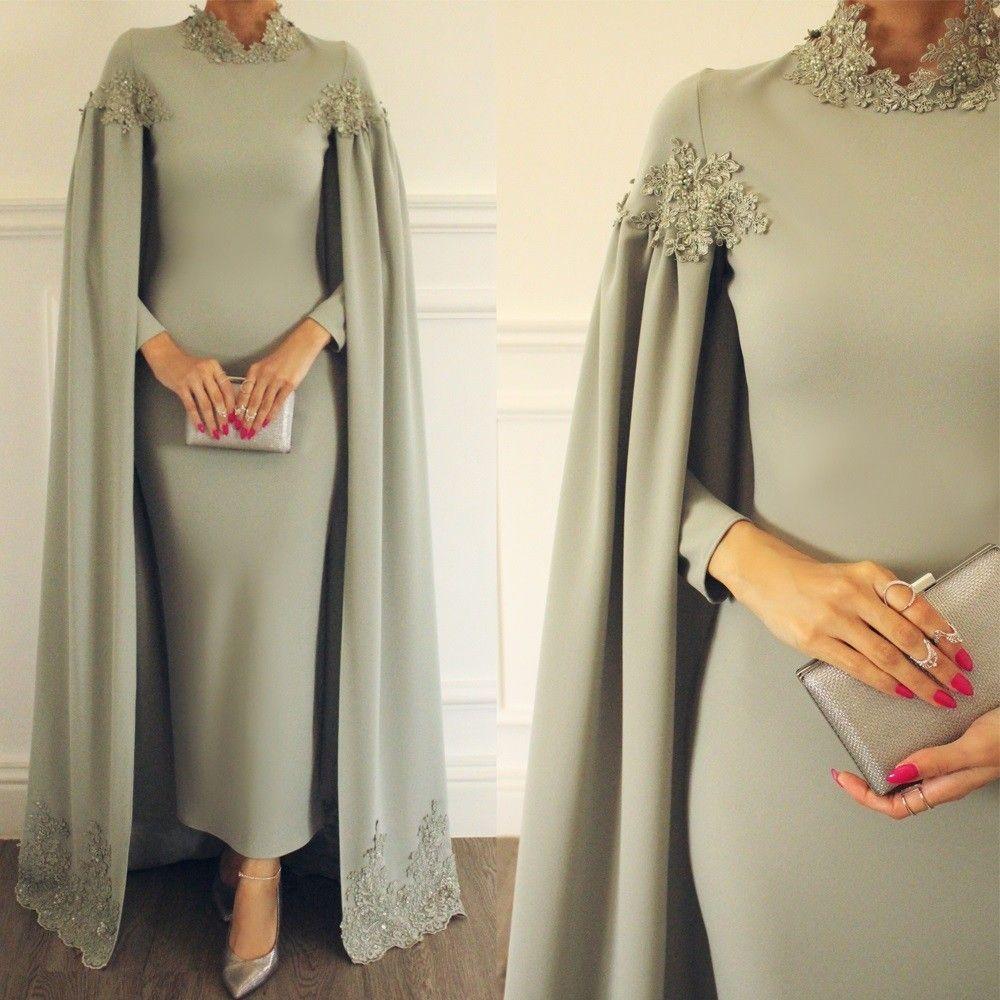 Dubai caftan 2020 silver lace appliqué beaded evening dresses long high neck arabic style muslim kaftan robe de soiree -   12 dress Hijab evening ideas