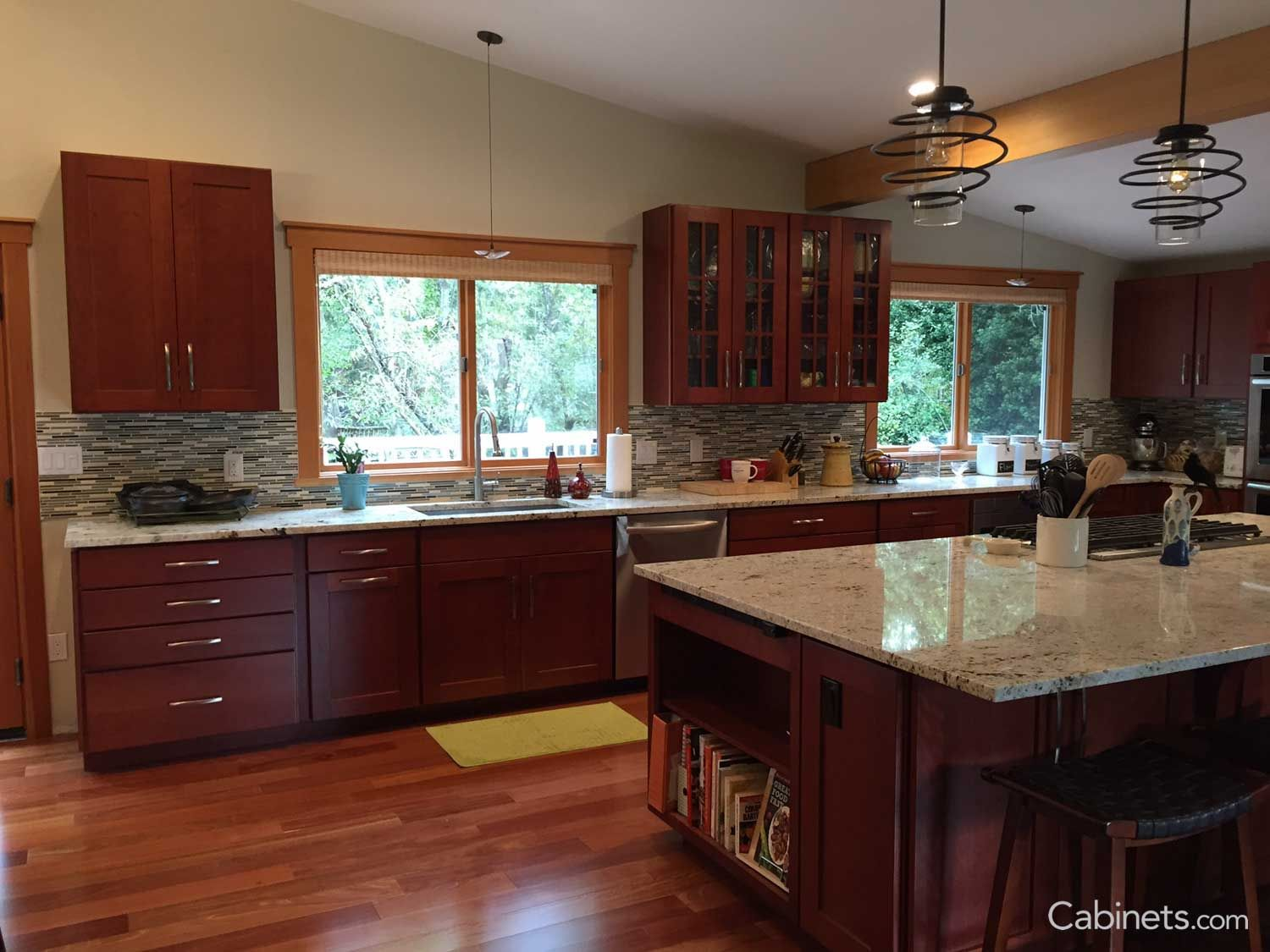 Pin By Cynmuller On Kitchen Cherry Cabinets Kitchen Open Concept Kitchen Online Kitchen Cabinets