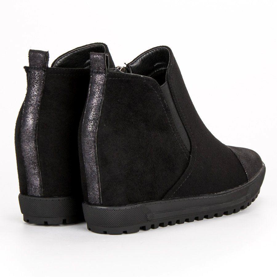 Filippo Zamszowe Botki Na Koturnie Czarne Boots Shoes Wedge Boot