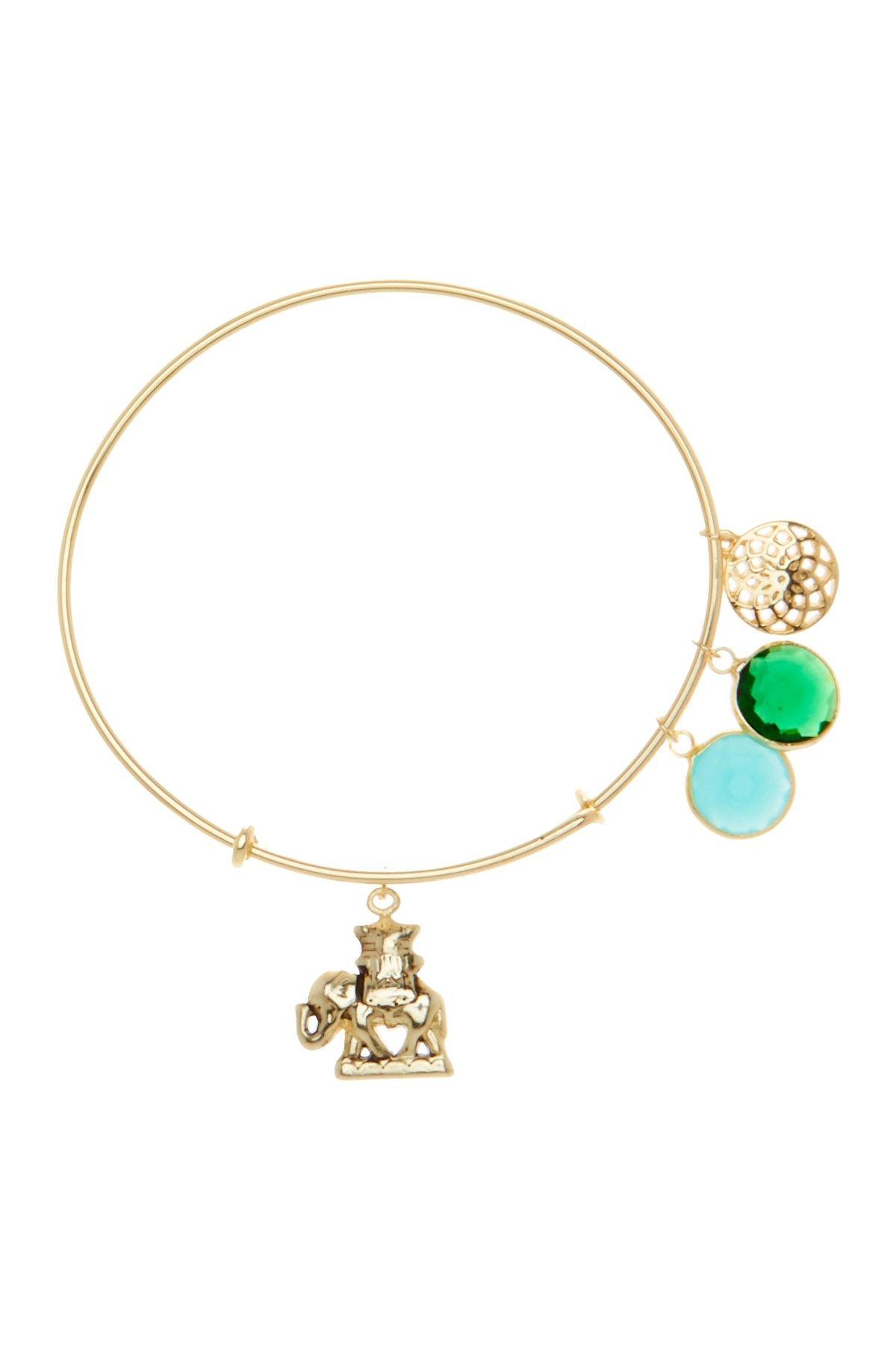 Royal Elephant & Multi Stone Adjustable Charm Bracelet