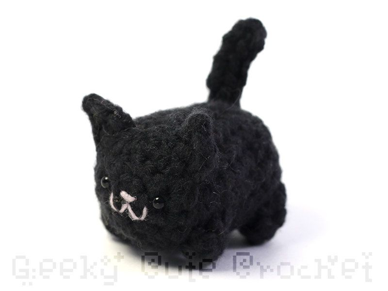 Such a sweet little crocheted black kitty for a halloween gift or for anyone that loves cats / black kitty crochet Amigurumi / handmade stuffed black kitty / a fun surprise tucked inside a Coffee Mug / as seen on Giggle Hearts www.gigglehearts.com
