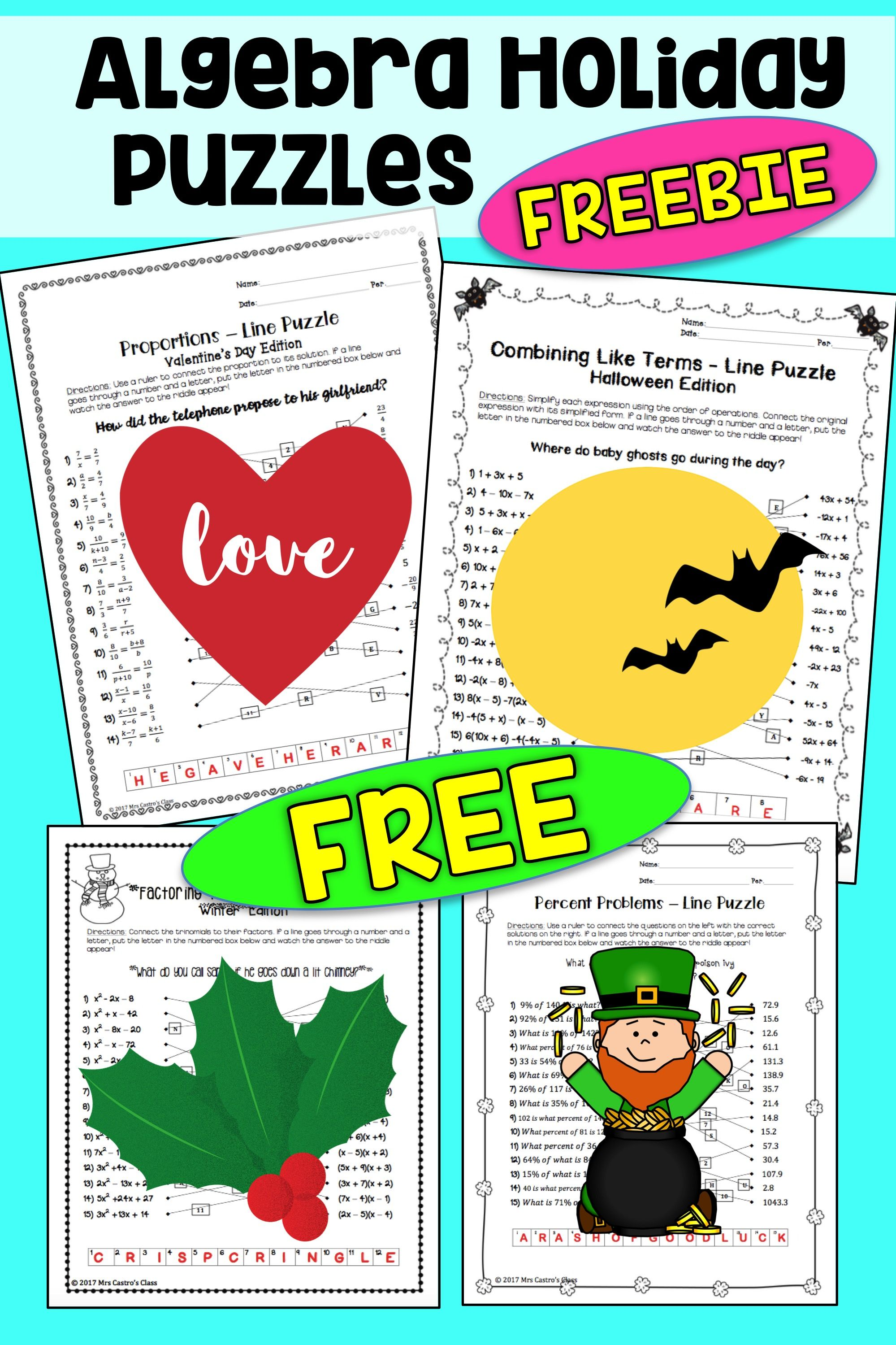 Free Algebra Holiday Puzzles